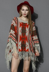 top,chicwish,aztec fringed poncho,knitted poncho,poncho