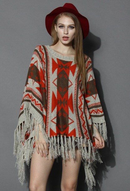 top chicwish aztec fringed poncho knitted poncho poncho