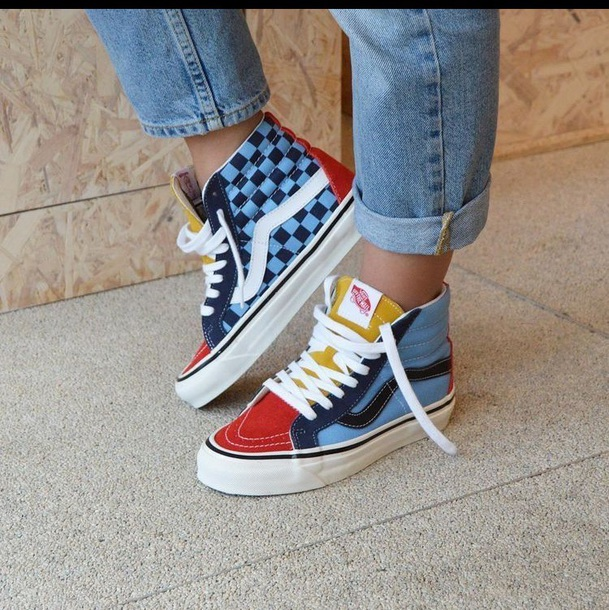 shoes blue vans red yellow checkered 4b00faee8