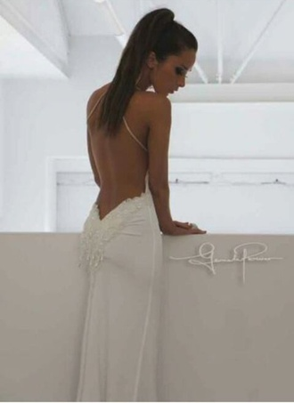 dress backless white tan backless dress wedding wedding dress sequence amazing lowback beautiful elegant elegant dress sexy sexy dress white dress open back low back backless white dress white backless dress long dress white long dress bodycon dress designer dress gown formal prom prom dress formal dress white formal dress white prom dress elegant backless dress lace wedding dress pretty prom gown