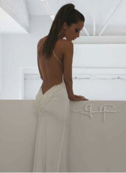 white dress backless dress dress backless white tan backlessdress wedding clothes weddingdress sequence amazing lowback beautiful elegant elegant dress sexy sexy dress low back backless white dress white backless dress long dress white long dress tight dress designer dress gown formal prom prom dress formal dress white formal dress white prom dress elegant backless dress lace wedding dress