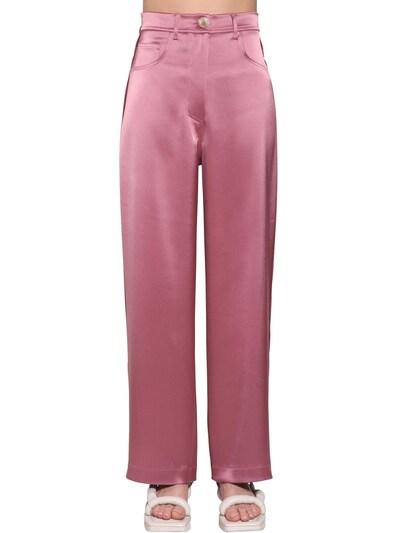 NANUSHKA Marfa High Waist Satin Pants Pink