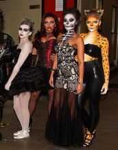 dress,costume,halloween,halloween costume,halloween makeup,little mix,perrie edwards,leigh-anne pinnock,leigh anne,jesy nelson,jade thirlwall,celebrity halloween costume