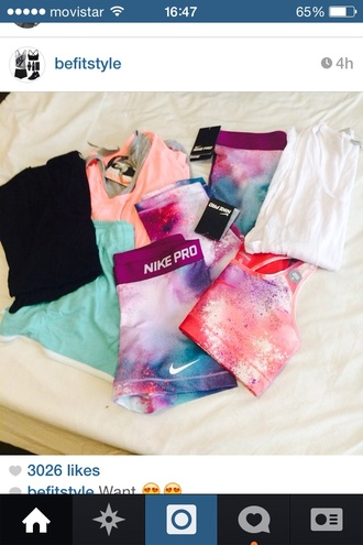 underwear nike sportswear sports bra workout fitness leggings shorts spandex nike pro galaxy print sports shorts clothes shirt colorful pink tumblr style workout leggings workout top workout pants workout sports bra top bold colors cute
