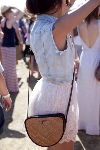 skirt lace white denim jacket denim jacket white skirt white lace skirt lace skater skirt skater skirt festival music festival cute pretty bag