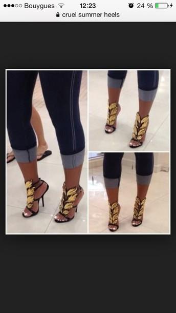 fake zanotti giuseppe zanotti heels immitation heels sandals cruel summer kanye west black and gold shoes giuseppe zanotti Giuseppe Zanotti shoes palm leaf italy shoes replica inspiration