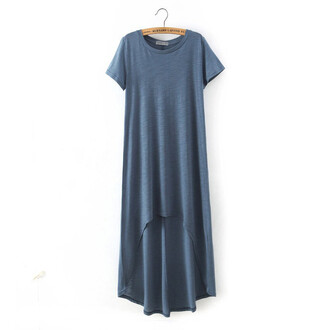 dress brenda-shop tunic dress high low dress basic pastel blue dress casual casual dress beach