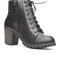 Lace up quilted bootie - black