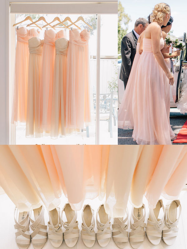 Pretty Peach Chiffon Bridesmaids Dress [TBQF179] - $165.00 : Custom Made Wedding, Prom, Evening Dresses Online | Tulle & Chantilly