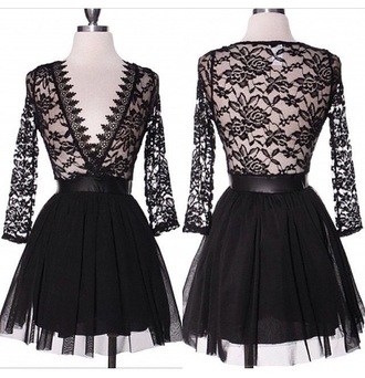 dress black dress prom dress peplum long sleeves long sleeve dress lace dress lace top outfit
