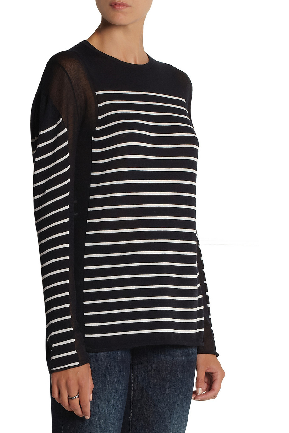 T by Alexander Wang Striped cotton-blend top – 58% at THE OUTNET.COM