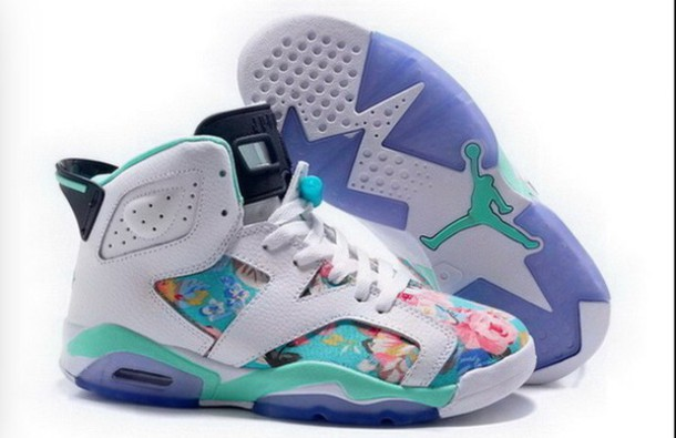 shoes womens air jordan floral ' white/turquoise.   m