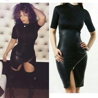 dress kimbella asymmetrical dress black faux leather dress zipper dress gold sexy dresses sexy party dresses