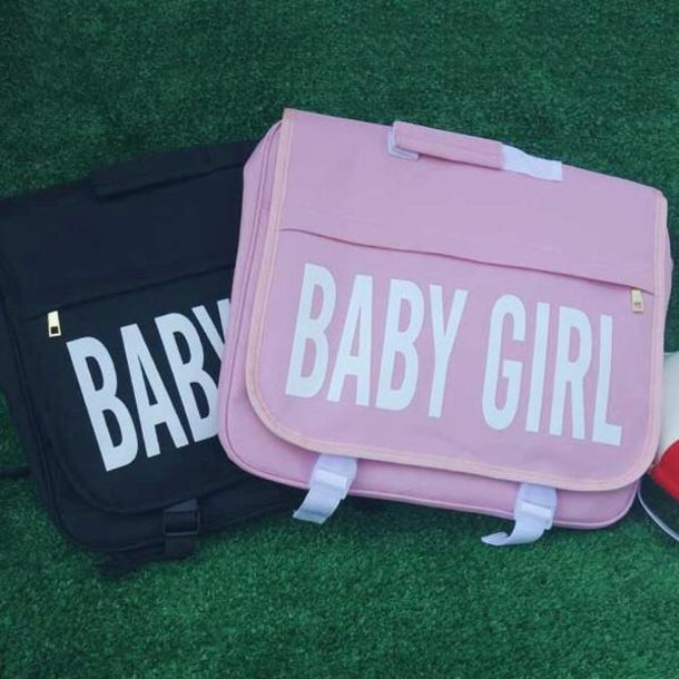 bag girly baby girl backpack pink black