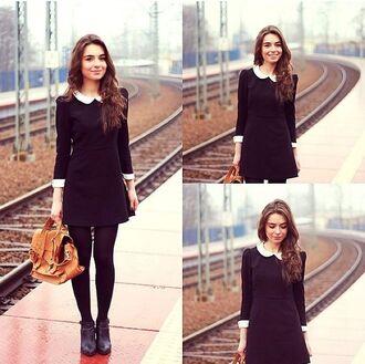 collar dress black and white dress