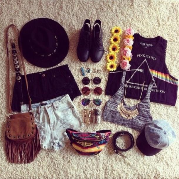 blouse hat shirt shirt outfit flowered boots black boots band t-shirt purse bag bracelets sunglasses style necklace bra bralette shorts