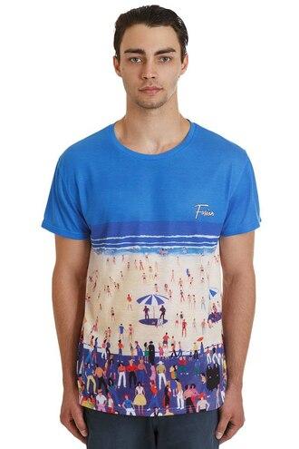 t-shirt full print all over print blue beach fusion printed t-shirt del mar