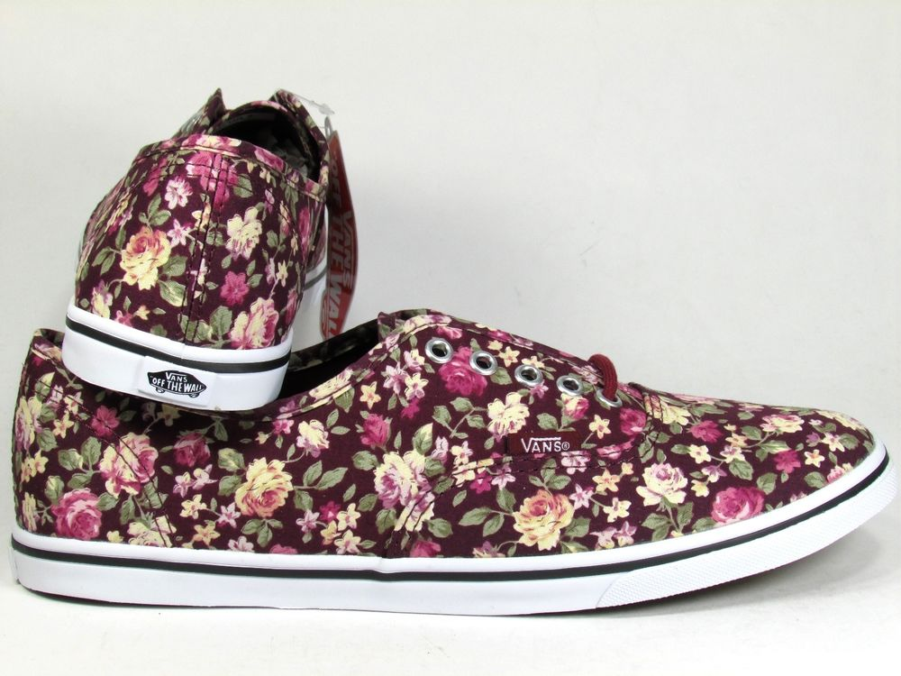 New Vans Authentic Lo Pro Floral Tawny Port Women U s Size Skateboarding Shoes | eBay