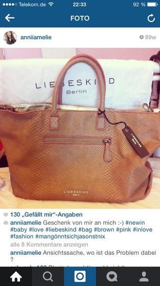 bag brown pink liebeskind leather bag