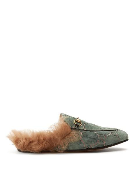 gucci loafers velvet light green shoes