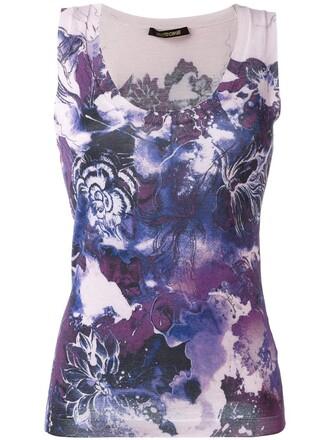 tank top top floral print purple pink