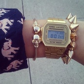 jewels,casio watch,gold,watch,bracelets,skull,spikes,accessories,wrist,Casio,swatch,gold watch,fashion,skater,hipster,blouse,blue shirt,elephant,elephant print tank tee,shirt elephant,shirt,vintage,fashion blouse,studs,jewelry bracelets,skeleton