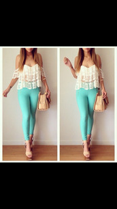 blouse,off the shoulder,shoes,bag,top,white,boho,white top,pants,blue pants,tank top,cute,lace,summer,shirt,summer top,fashion,style,white t-shirt,white crop tops,white shirt,white blouse,t-shirt,lace top,lace crop top,white lace top,off shoulder crop top,strapless,date outfit