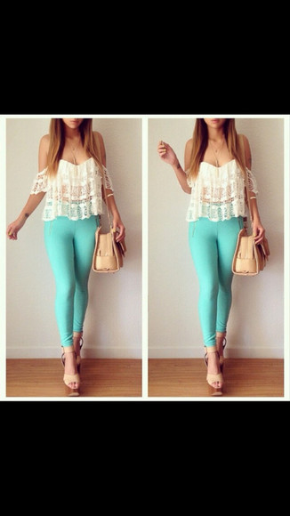bag blouse off the shoulder shoes