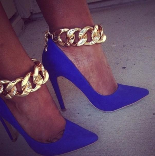shoes blue high heels chain gold gold chain blue high heels royal blue