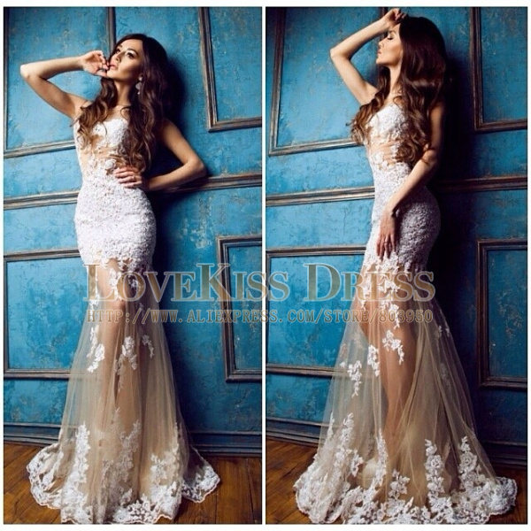 Dress Lace Dress Prom Dress White Dress Mermaid Prom Dress