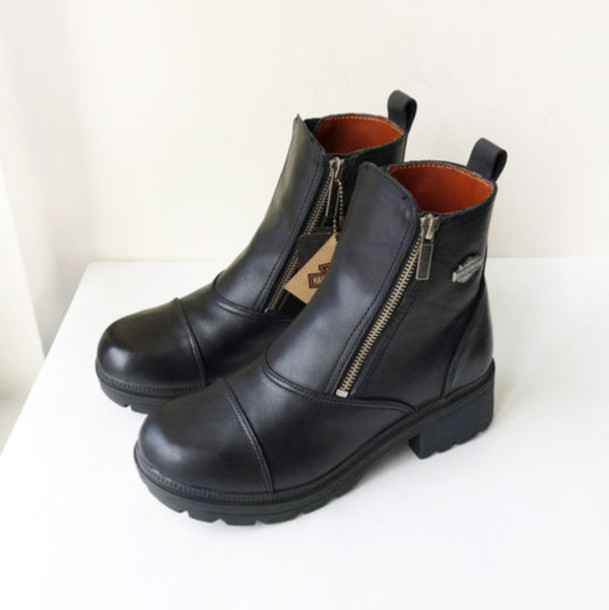 shoes vintage harley davidson boots vintage boots chunky sole ankle boots