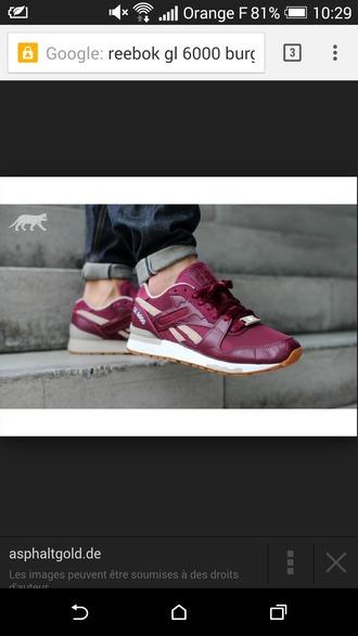 shoes burgundy reebok gl6000 baskets