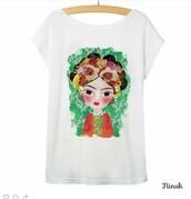 shirt,ninuk,frida,frida kahlo sweatshirt,frida kahlo,colorful,mexico,t-shirt,top,white t-shirt
