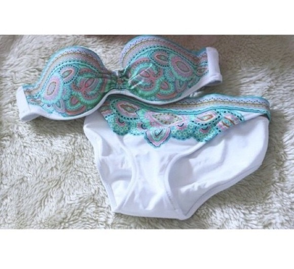swimwear bikini patterned bikini bottoms summer victoria's secret tribal pattern bandeau bikini hipster bikini floral bikini dress tumblr bikini shorts high waisted short summer outfits paisley