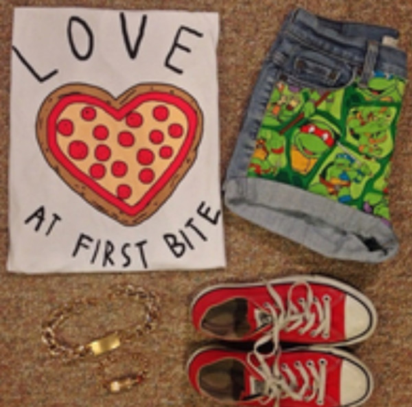 shirt pizza shorts ninaj turtles converse red jewelry top quote on it chunks
