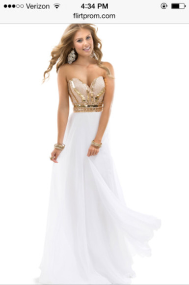 prom dress beauty white dress gold sequins dress white prom dress long prom dresses