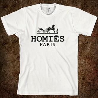 t-shirt homies white black paris fashion fashionista clothes