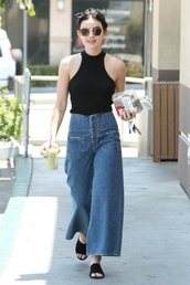 sunglasses,lucy hale,wide-leg pants,high waisted,top,jeans,flat sandals,flats,black top,summer,summer outfits