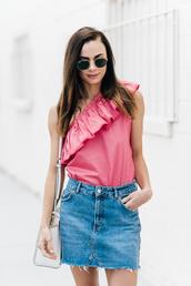 top,ruffled top,bag,tumblr,pink top,ruffle,one shoulder,skirt,mini skirt,denim,denim skirt,white bag,sunglasses,a-line skirt,off the shoulder top,shoulder bag,blogger,blogger style