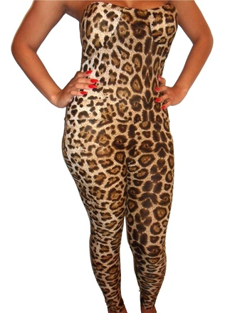 pants catsuit leopard print jumper all in one leopard print catsuit romper jumpsuit sexy clothing strapless bandeau