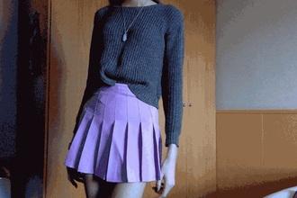 sweater grey gray grey sweater skirt purple skirt pleated skirt