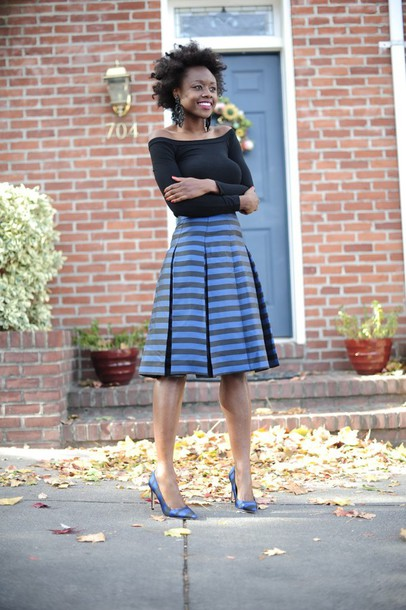 skinny hipster blogger top striped skirt midi skirt pointed toe off the shoulder earrings black top skirt shoes black off shoulder top off the shoulder top long sleeves pleated skirt blue skirt pumps pointed toe pumps high heel pumps statement earrings