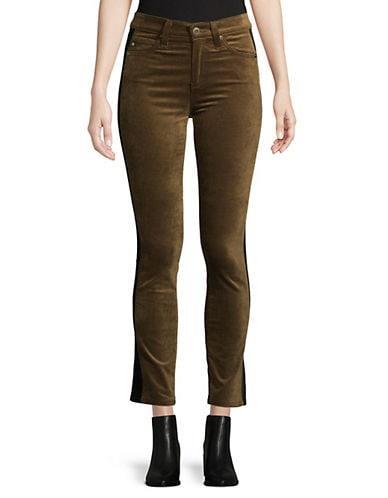 Ag Jeans Women's Mari Tuxedo Stripe Velvet - Dark Bayou - Size 27