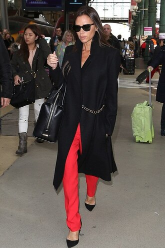victoria beckham pants coat fall outfits red