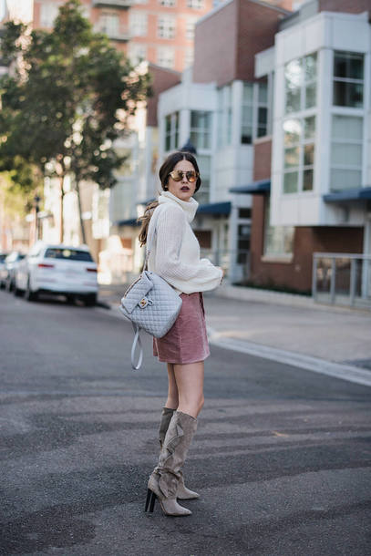 skirt tumblr mini skirt corduroy pink skirt sweater white sweater knit knitwear knitted sweater turtleneck turtleneck sweater boots grey boots knee high boots backpack