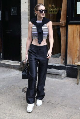 top pants crop tops gigi hadid knitted crop top knitwear sunglasses