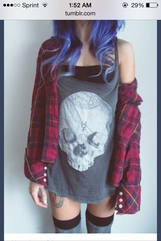 tank top grunge skull plaid hipster fashion shirt