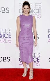 dress,sequins,sequin dress,lilac,ashley greene,sandals,gown,midi dress,people's choice awards