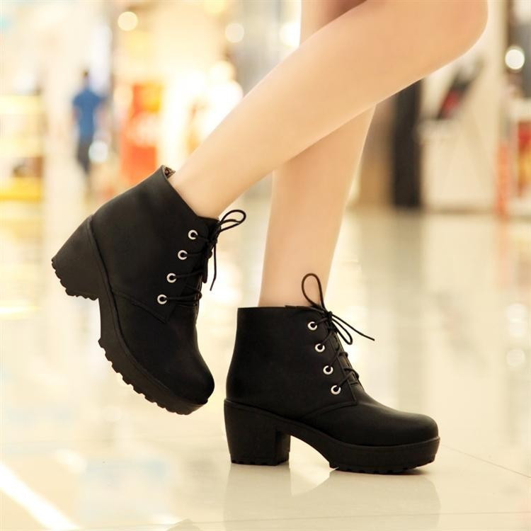 Round Toe Lace Up Chunky Platform Block Heels Oxford Shoes Ankle