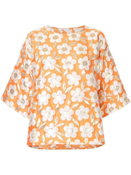 Bambah blouse women daisy silk yellow orange top